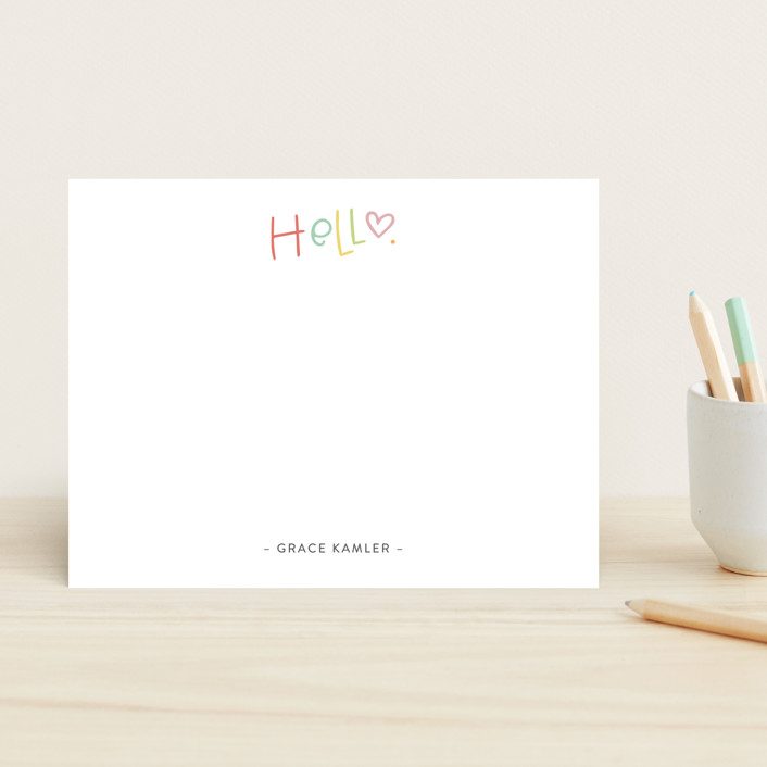 """Handlettered Hello"" - Children's Stationery in Cupcake by Olivia Goree."
