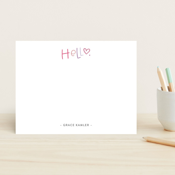 """""""Handlettered Hello"""" - Children's Stationery in Cupcake by Olivia Goree."""