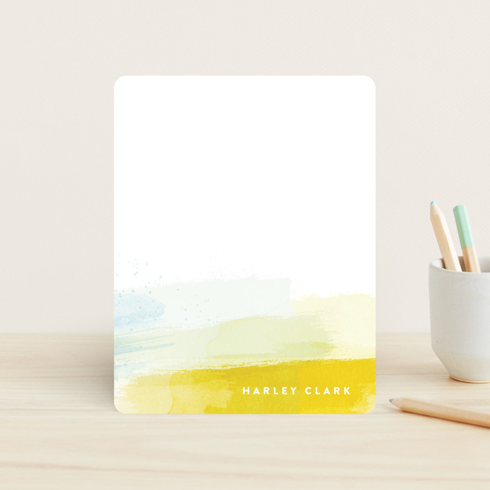 """""""Brushed Up"""" - Modern Children's Stationery in Sun by Hooray Creative."""