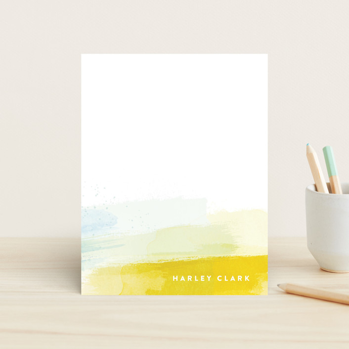 """Brushed Up"" - Modern Children's Stationery in Sun by Hooray Creative."