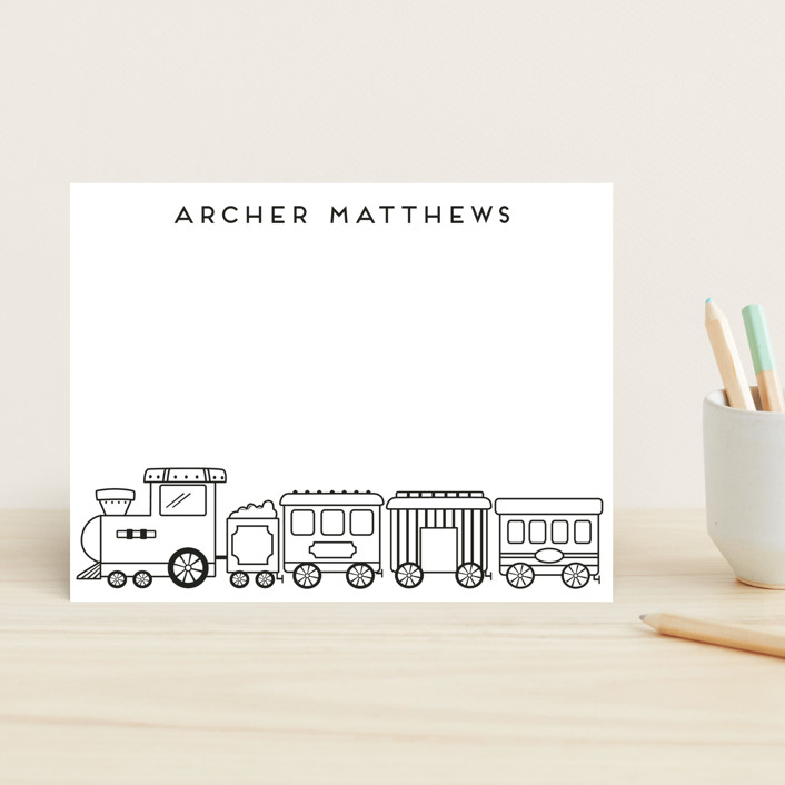 """""""Choo"""" - Hand Drawn Children's Stationery in Coal by peetie design."""