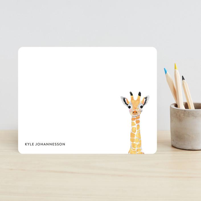 """Baby Animal Giraffe"" - Modern, Whimsical & Funny Children's Stationery in Midnight by Cass Loh."
