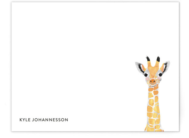Baby Animal Giraffe Children's Personalized Stationery