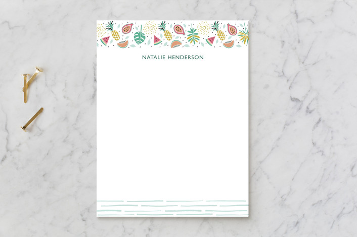 """Tropical Vibe"" - Children's Stationery in Avocado by Chi Hey Lee."