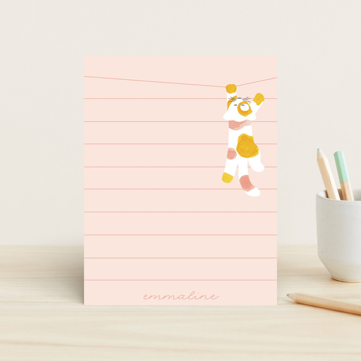 """""""Kitty"""" - Whimsical & Funny Children's Stationery in Cotton Candy by JeAnna Casper."""