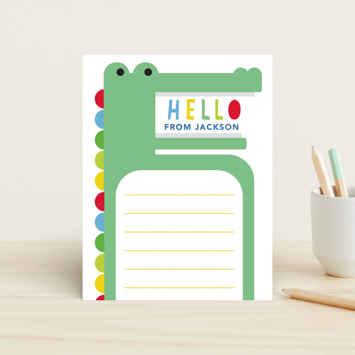 """A Snappy Hello"" - Children's Stationery in Jungle by Hudson Meet Rose."