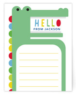 This is a green kids thank you cards note by Hudson Meet Rose called A Snappy Hello with standard printing on signature in standard.