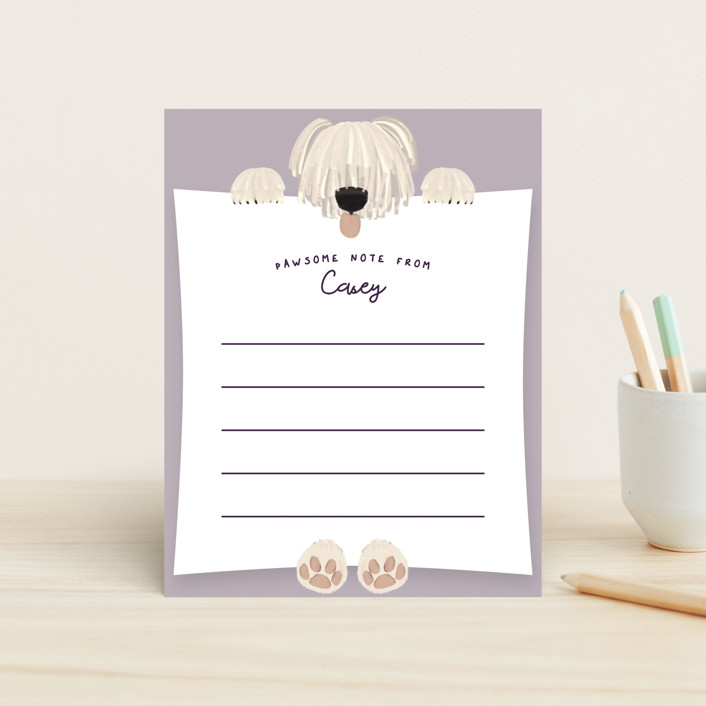 """Pale Pawsome Note"" - Whimsical & Funny Children's Stationery in Lavender by Gwen Bedat."