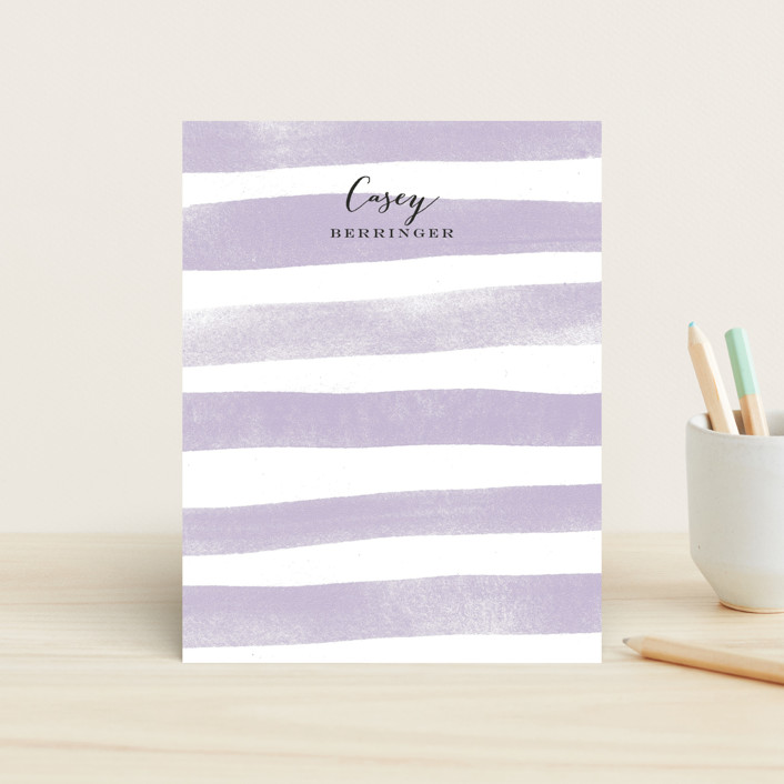 """Sanibel Island Stripes"" - Simple, Preppy Children's Stationery in Peach by Jennifer Wick."