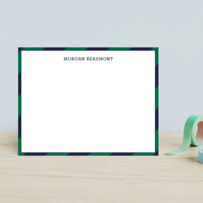 """""""Wide Stripe Nautical"""" - Simple, Simple Children's Stationery in Emerald by Seth Caskey."""