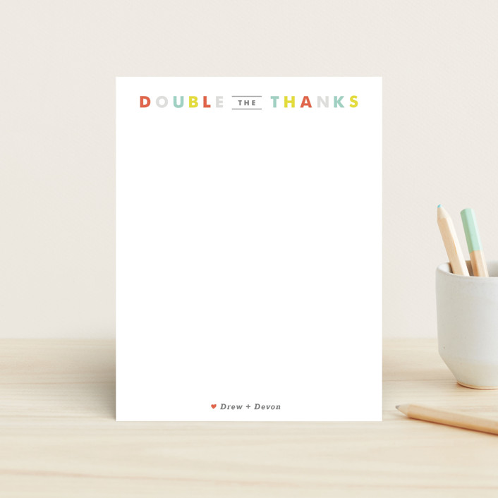 """""""Double the Love"""" - Simple, Modern Children's Stationery in Apple by Carolyn MacLaren."""