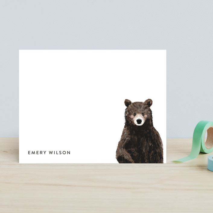 """Baby Animal Bear"" - Modern, Whimsical & Funny Children's Stationery in Blush by Cass Loh."