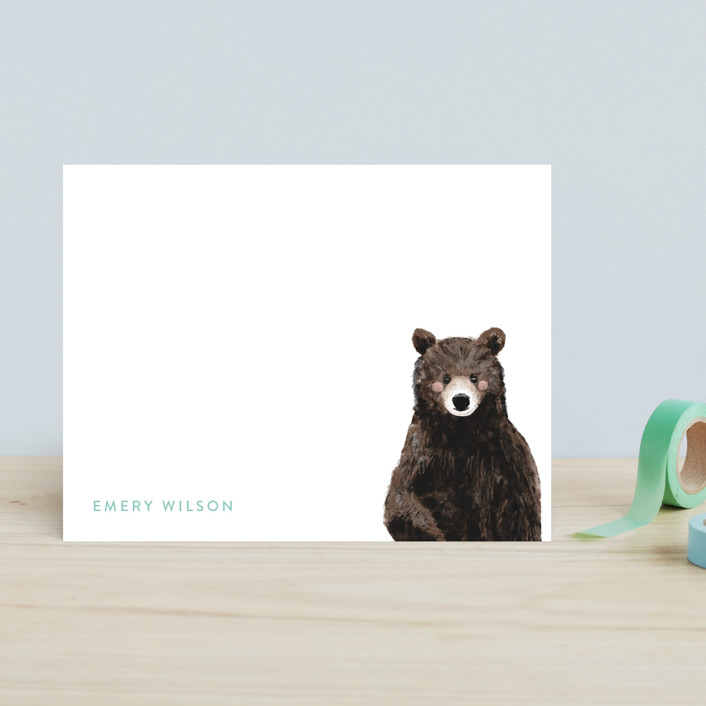 """""""Baby Animal Bear"""" - Modern, Whimsical & Funny Children's Stationery in Blush by Cass Loh."""