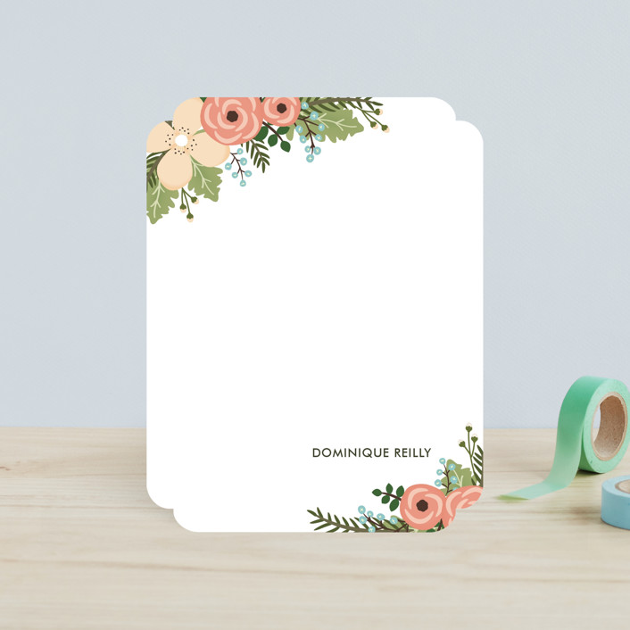 """""""Posey Blush"""" - Floral & Botanical, Hand Drawn Children's Stationery in Peach by Lawren Ussery."""
