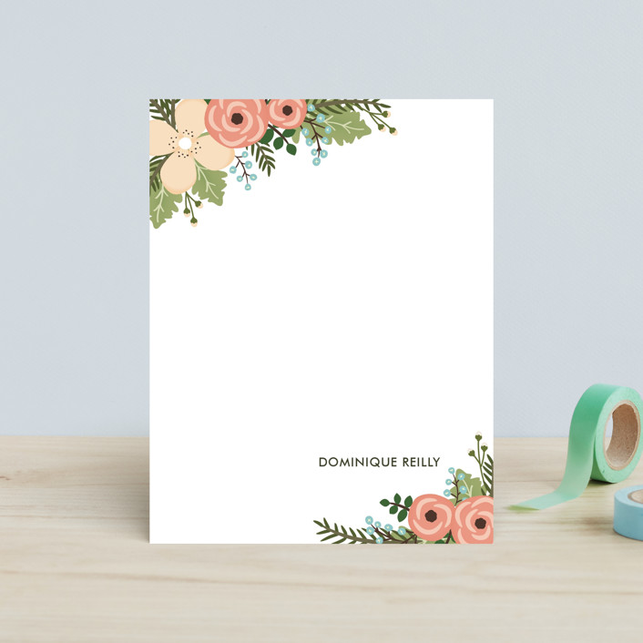 """Posey Blush"" - Floral & Botanical, Hand Drawn Children's Stationery in Peach by Lawren Ussery."