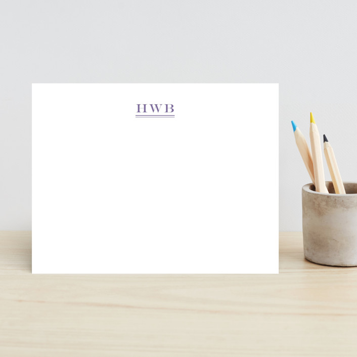 """Ascot"" - Preppy, Monogrammed Children's Stationery in Navy by Toast & Laurel."
