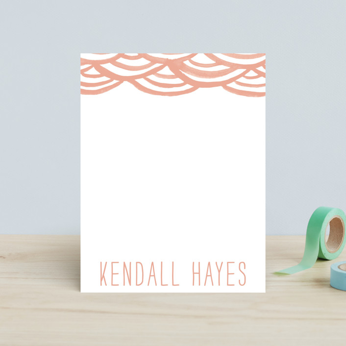 """""""Watercolor Bunting"""" - Whimsical & Funny, Hand Drawn Children's Stationery in Peach by Liz Conley."""
