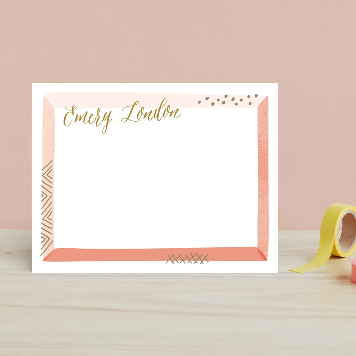 """Beveled Frame"" - Hand Drawn Children's Stationery in Coral by Laura Hankins."