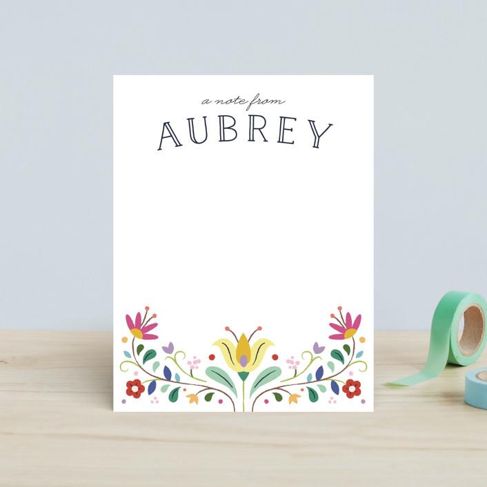 """Folk Florals"" - Floral & Botanical Children's Stationery in Sky by Amber Barkley."