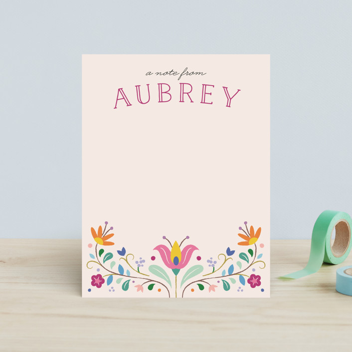 """Folk Florals"" - Floral & Botanical Children's Stationery in Sky by Amber Barkley."