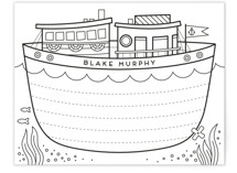 This is a black and white kids thank you cards note by Lorent and Leif called Ahoy with standard printing on signature in standard.