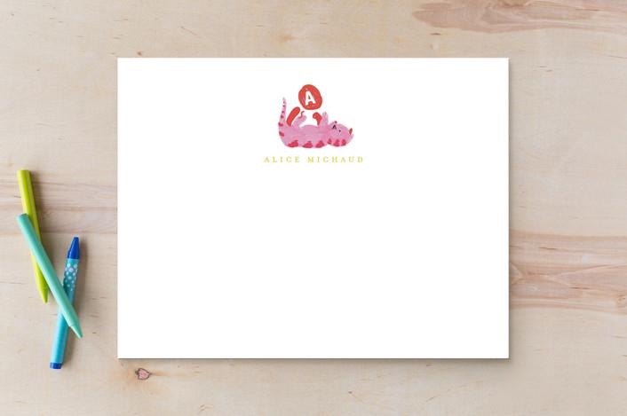 """frisky kitty"" - Children's Stationery in Peony by Angela Garrick."