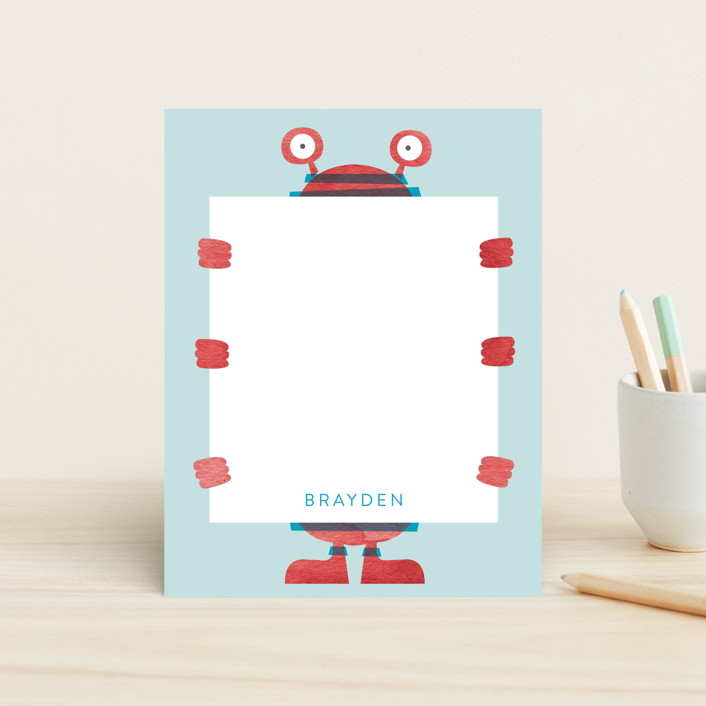 """Lil' Monster"" - Children's Stationery in Cherry by JeAnna Casper."