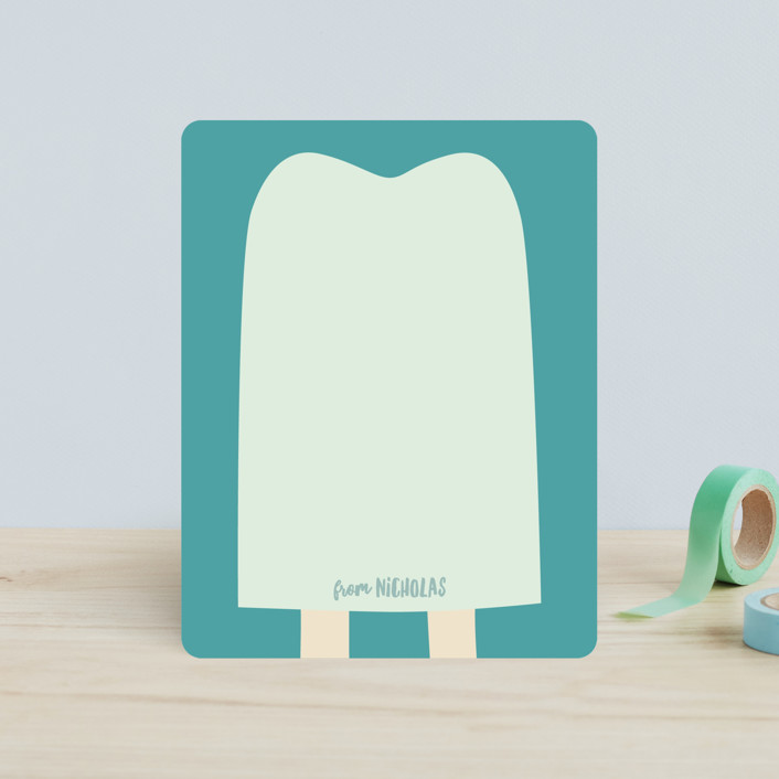 """popsicle notes"" - Whimsical & Funny Children's Stationery in Cool Mint by Guess What Design Studio."
