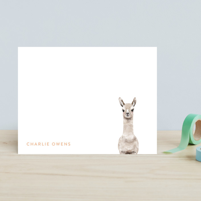 """Baby Animal Llama"" - Modern, Whimsical & Funny Children's Stationery in Coral by Cass Loh."