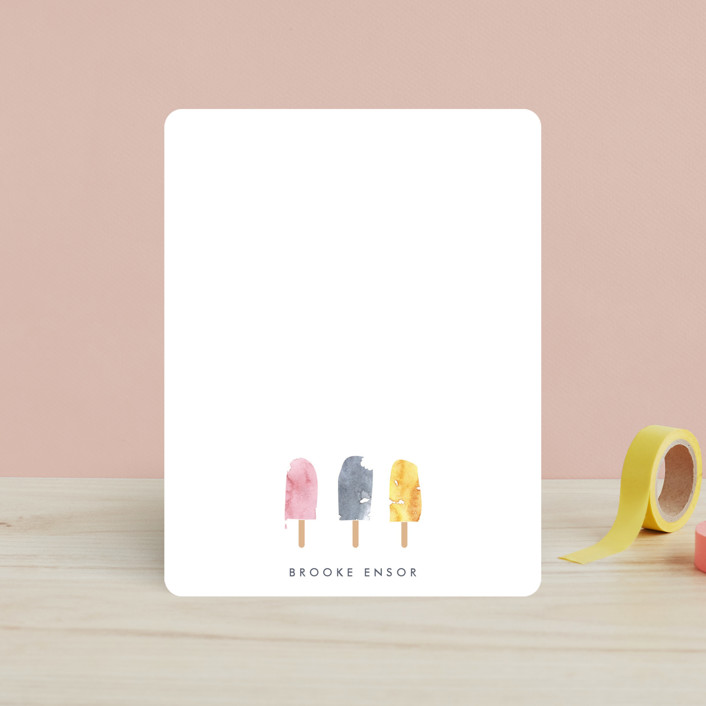 """Iced Summer Notes"" - Simple, Whimsical & Funny Children's Stationery in Summer Time by Jen."