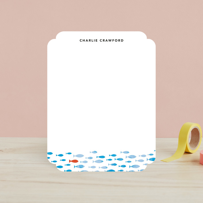 """""""Stand Out"""" - Simple, Whimsical & Funny Children's Stationery in Ocean Blue by 24th and Dune."""