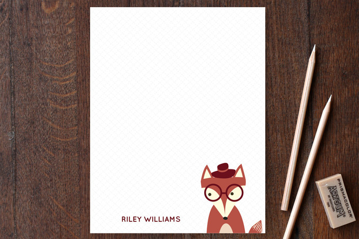 """Detective Fox"" - Whimsical & Funny Children's Stationery in Fire by Anupama."