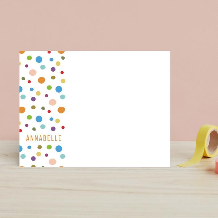 """Dotty Side"" - Modern Children's Stationery in Tangerine by Almazia."
