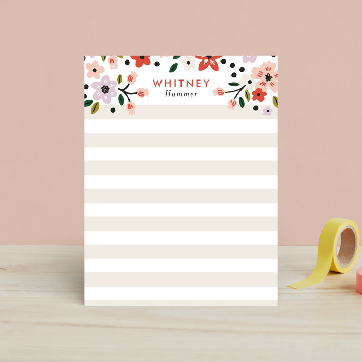 """""""Pattern Play"""" - Floral & Botanical, Preppy Children's Stationery in Poppy by Alethea and Ruth."""