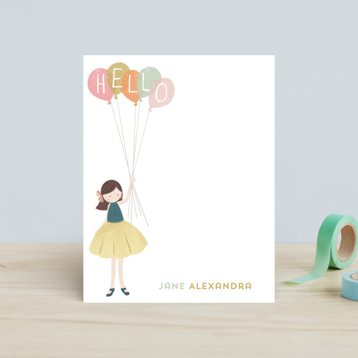 """""""A Sweet Hello"""" - Whimsical & Funny, Whimsical & Funny Children's Stationery in Buttercream by peetie design."""