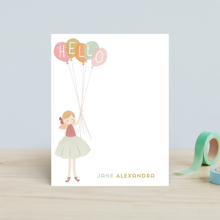 """A Sweet Hello"" - Whimsical & Funny, Whimsical & Funny Children's Stationery in Buttercream by peetie design."
