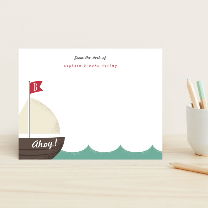 """Ahoy!"" - Modern, Preppy Children's Stationery in Ruby Red by Leah Bisch."