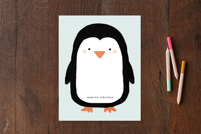 """Big Penguin"" - Hand Drawn, Whimsical & Funny Children's Stationery in Artic Blue by August and Oak."