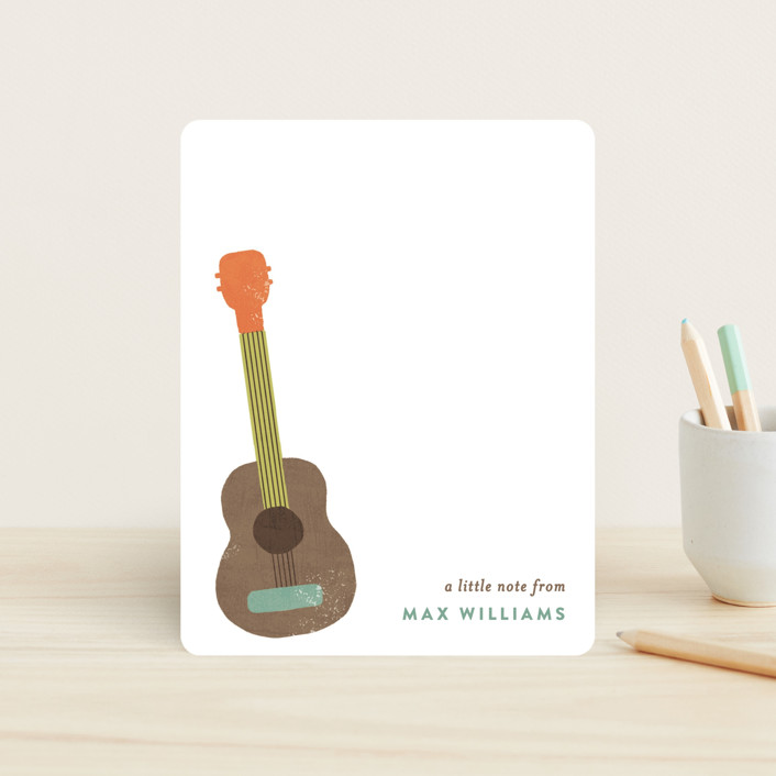 """Guitar"" - Hand Drawn, Whimsical & Funny Children's Stationery in Tangerine by August and Oak."