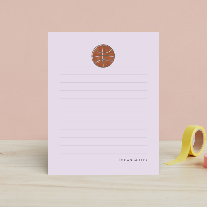 """Basketball"" - Hand Drawn, Simple Children's Stationery in Cotton by peony papeterie."
