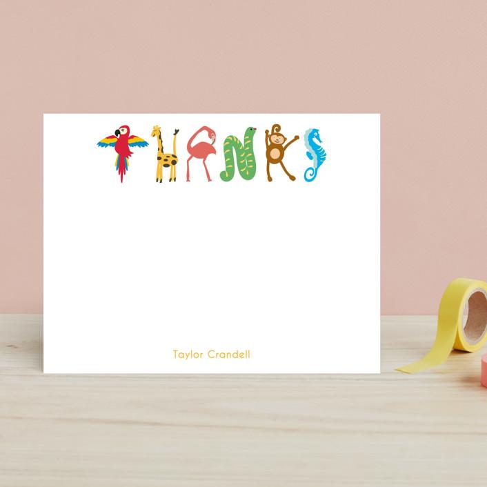 """Zoo Animal Thanks"" - Hand Drawn, Minimalist Children's Stationery in Zoo by Kaydi Bishop."