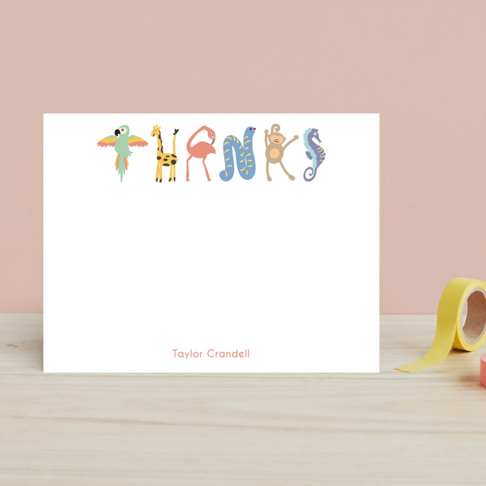 """Zoo Animal Thanks"" - Hand Drawn, Minimalist Children's Stationery in Zoo by Kaydi Bishop."