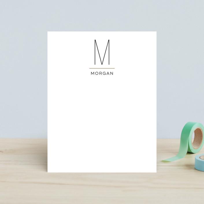 """MODERN MONOGRAM"" - Monogrammed, Simple Children's Stationery in Onyx by Christina Novak."