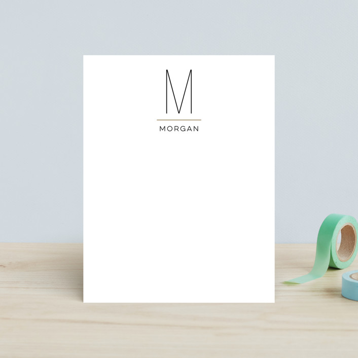 """MODERN MONOGRAM"" - Monogrammed, Simple Children's Stationery in Onyx by Christina Novak."