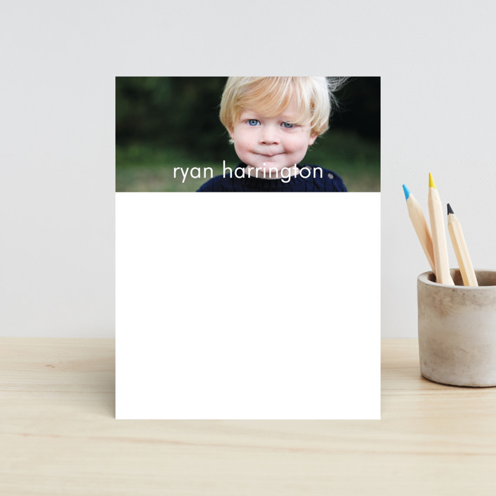 """Riley"" - Simple, Minimalist Children's Stationery in Marshmallow by Kim Dietrich Elam."