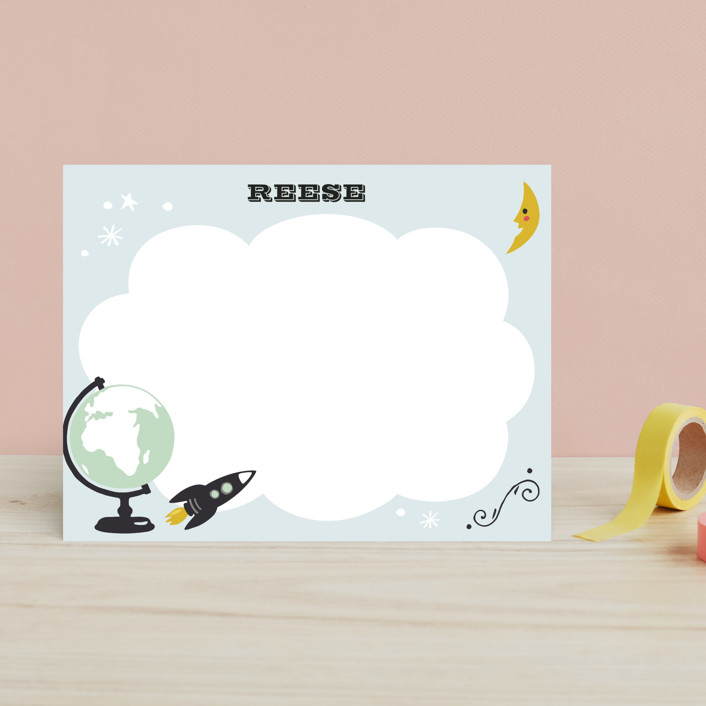 """""""Blast Off"""" - Whimsical & Funny Children's Stationery in Celestial by Griffinbell Paper Co.."""