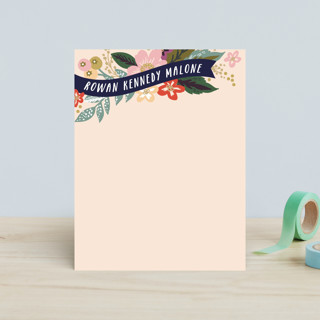 Floral Banner Children's Stationery