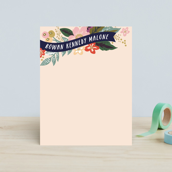 """Floral Banner"" - Floral & Botanical, Hand Drawn Children's Stationery in Soft Peach by Alethea and Ruth."
