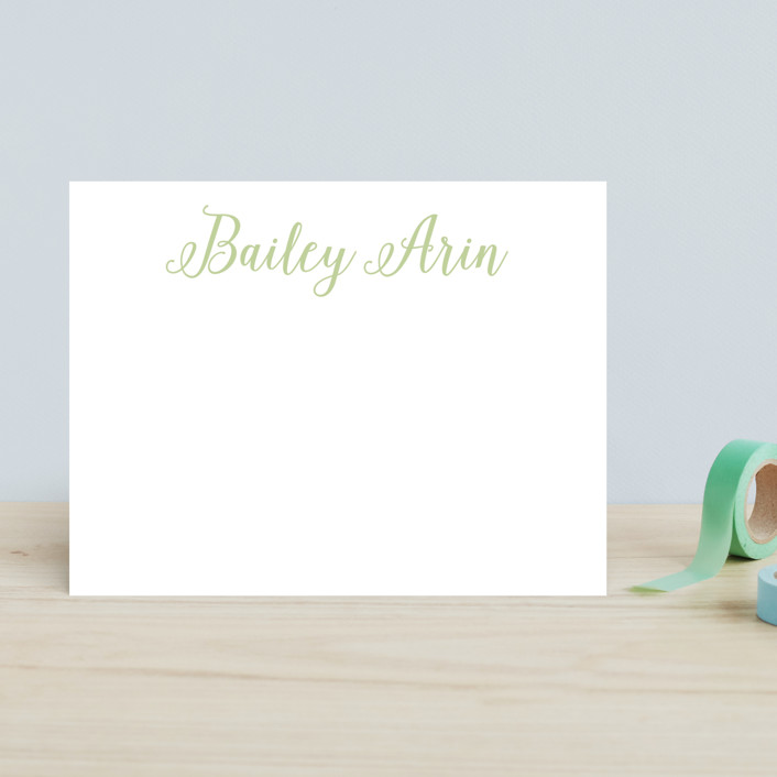 """Baby Script"" - Simple, Classical Children's Stationery in Cloud by Erin Deegan."
