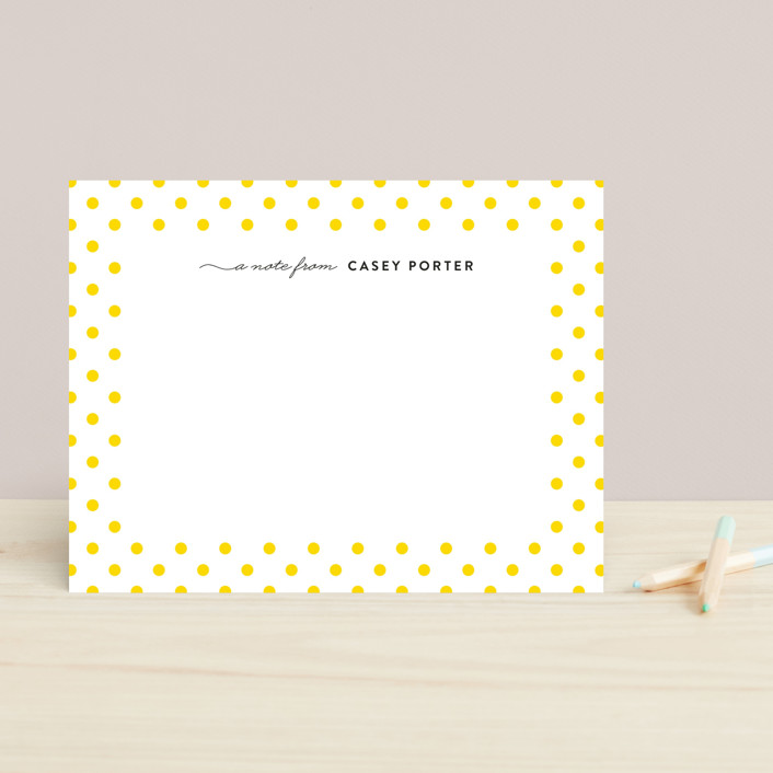 """Dotted Border"" - Preppy, Simple Children's Stationery in Lemon by Liz Conley."
